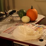 Work Area for Pumpkin Carving